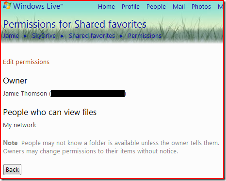 shared favorites permissions
